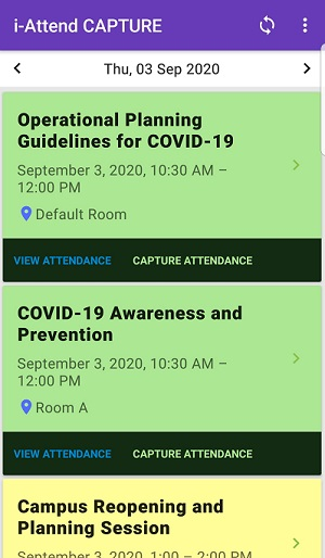 Display Events or Sessions for attendance tracking
